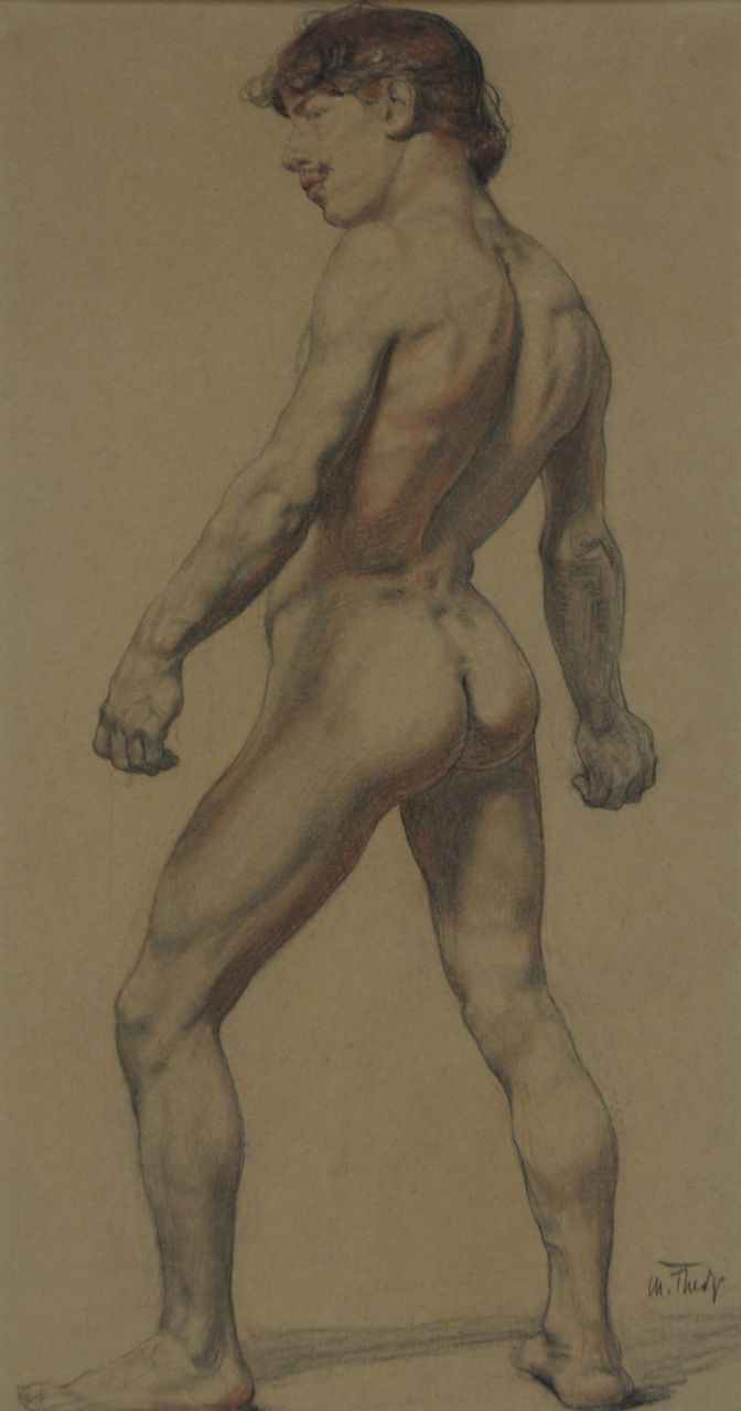 Thedy M.E.G.  | Maximilian Eduard Gallus 'Max' Thedy | Watercolours and drawings offered for sale | An academy study, charcoal and chalk on paper 32.8 x 17.5 cm, signed l.r.