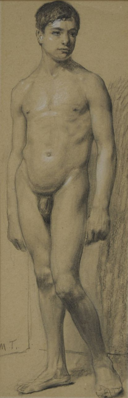 Max Thedy | An academy study, charcoal and chalk on paper, 33.6 x 11.1 cm, signed l.l. with initials
