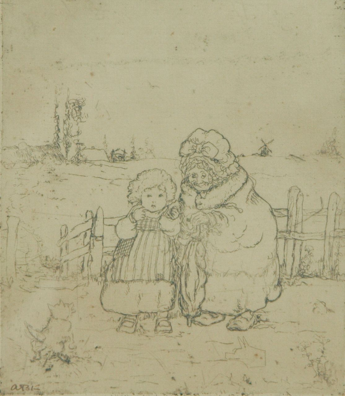 Adrienne Klinkhamer | Grandmother and child, etching on paper, 12.3 x 10.6 cm, signed l.l. with initials (in pen)