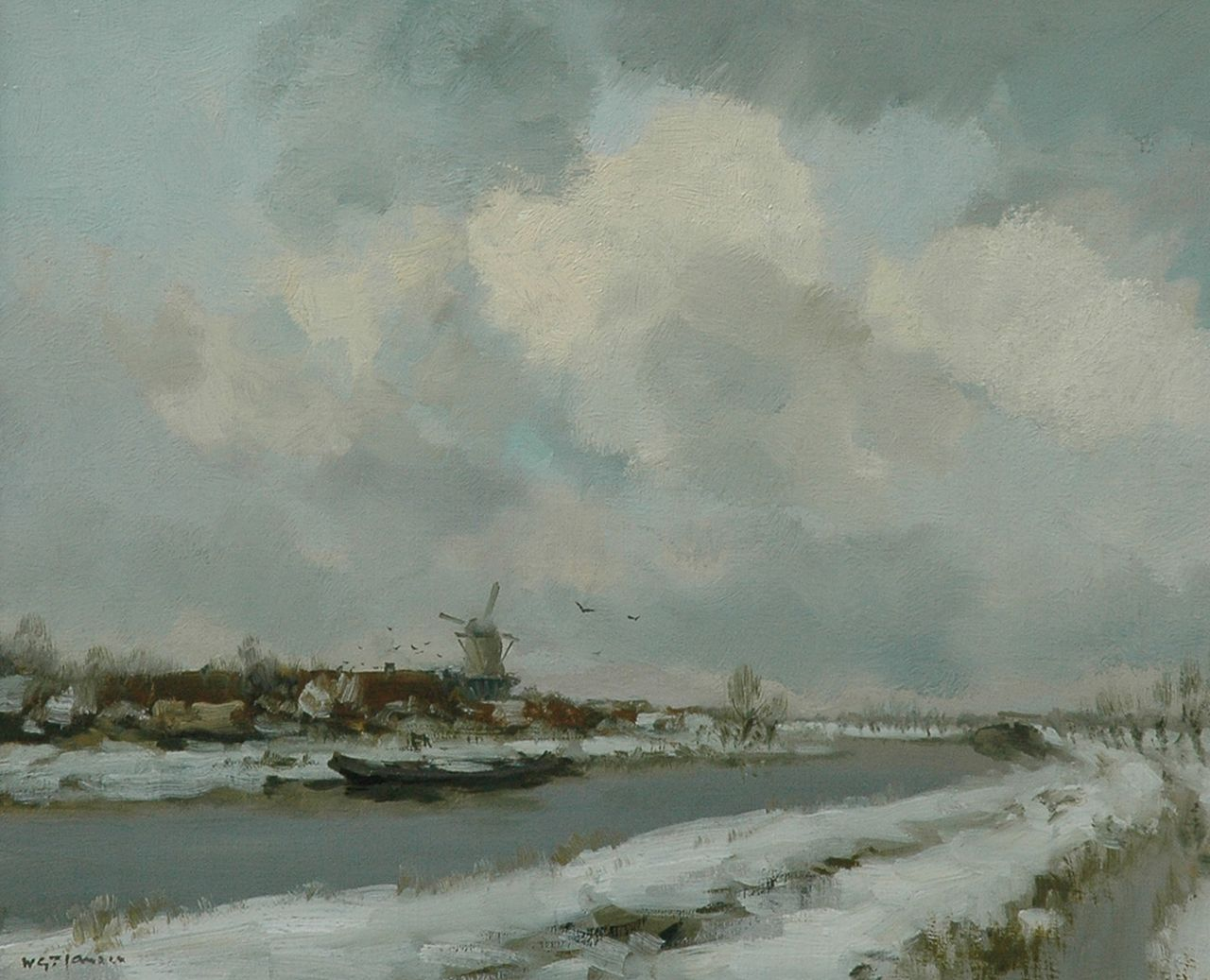 Jansen W.G.F.  | 'Willem' George Frederik Jansen, A polder landscape in winter, oil on canvas 50.0 x 60.2 cm, signed l.l.