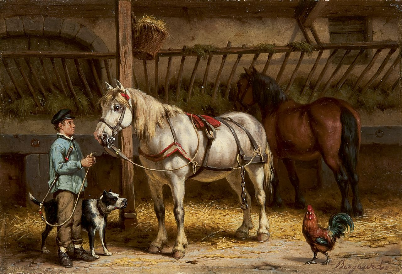 Boogaard W.J.  | Willem Johan Boogaard, A farm hand with a horse, oil on panel 17.2 x 24.8 cm, signed l.r.