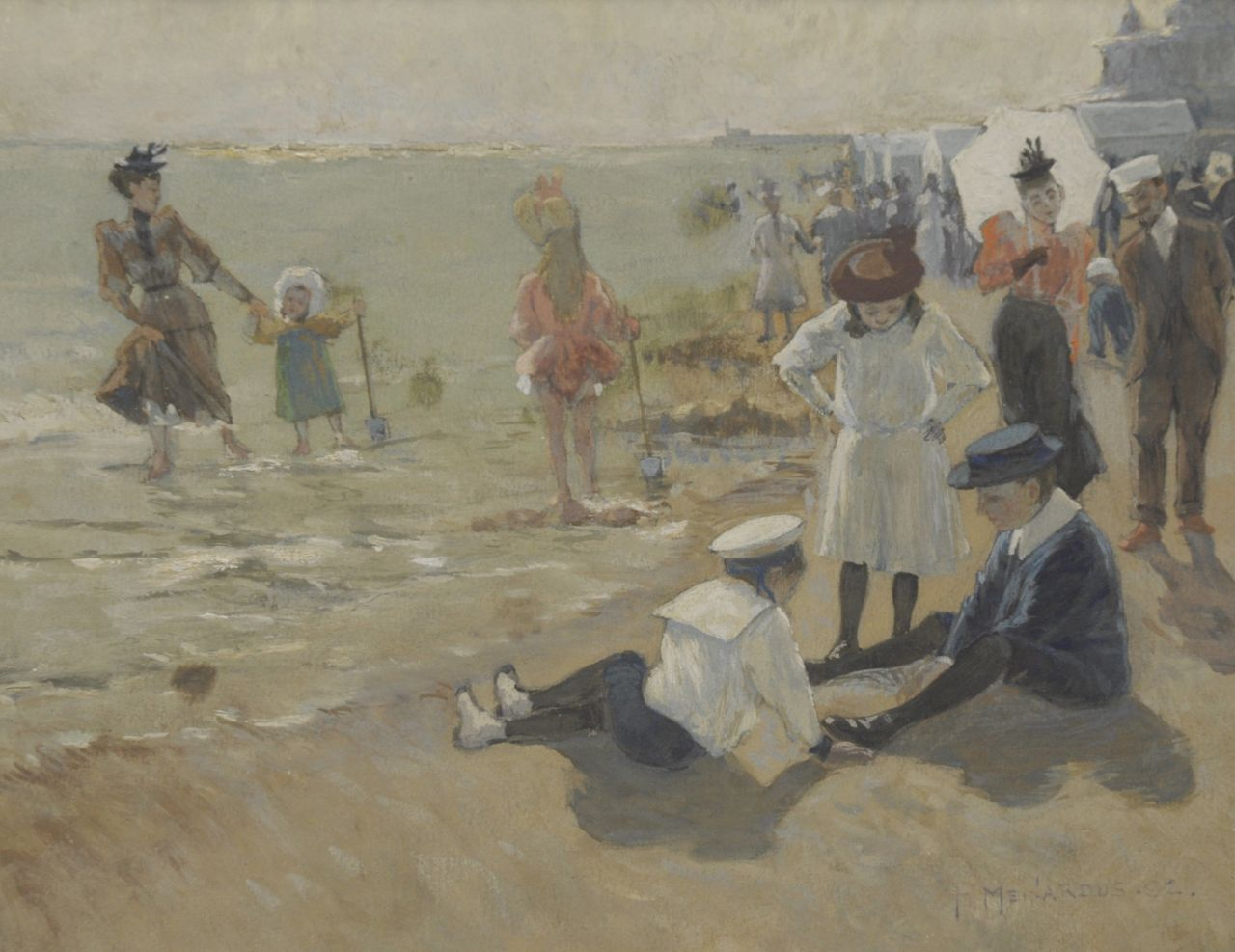 P. Meinardus | At the beach of Scheveningen, gouache on paper, 20.1 x 25.8 cm, signed l.r. and dated '92