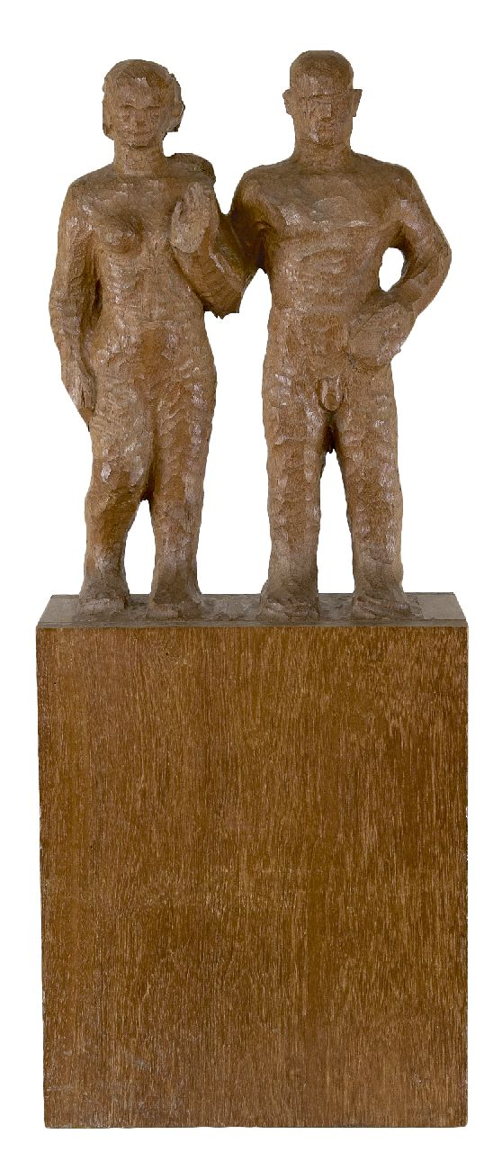 Krop H.L.  | Hildebrand Lucien 'Hildo' Krop | Sculptures and objects offered for sale | Man and woman, wood 78.4 x 31.2 cm