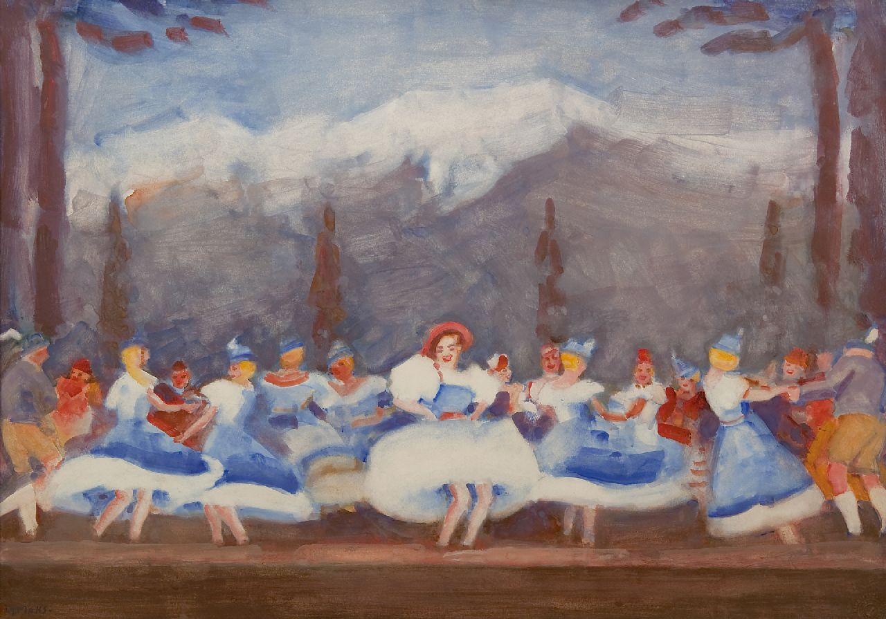 Maks C.J.  | Cornelis Johannes 'Kees' Maks | Watercolours and drawings offered for sale | Tiroler ballet at the Bouwmeester Revue, gouache on paper 48.0 x 68.0 cm, signed l.l. and painted ca. 1938