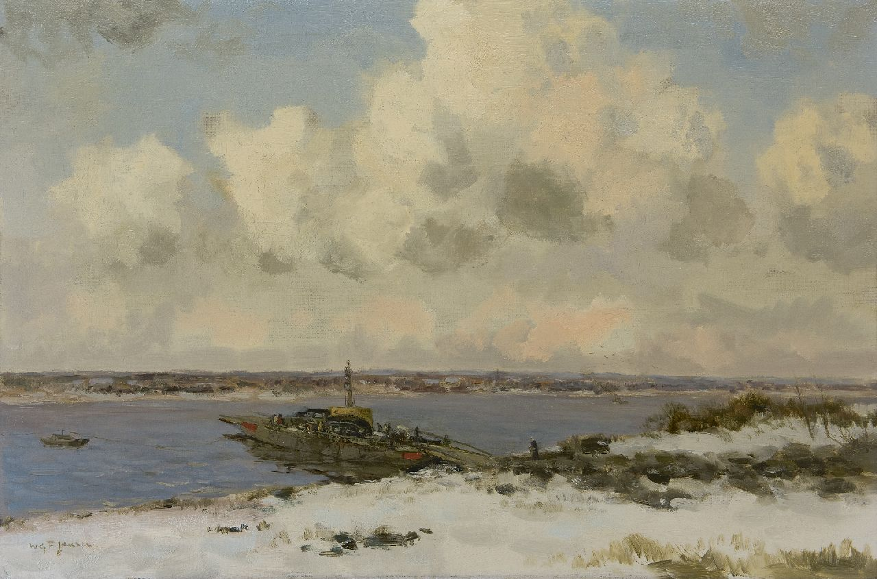 Jansen W.G.F.  | 'Willem' George Frederik Jansen | Paintings offered for sale | Ferry in winterlandscape, oil on canvas 60.5 x 90.5 cm, signed l.l.