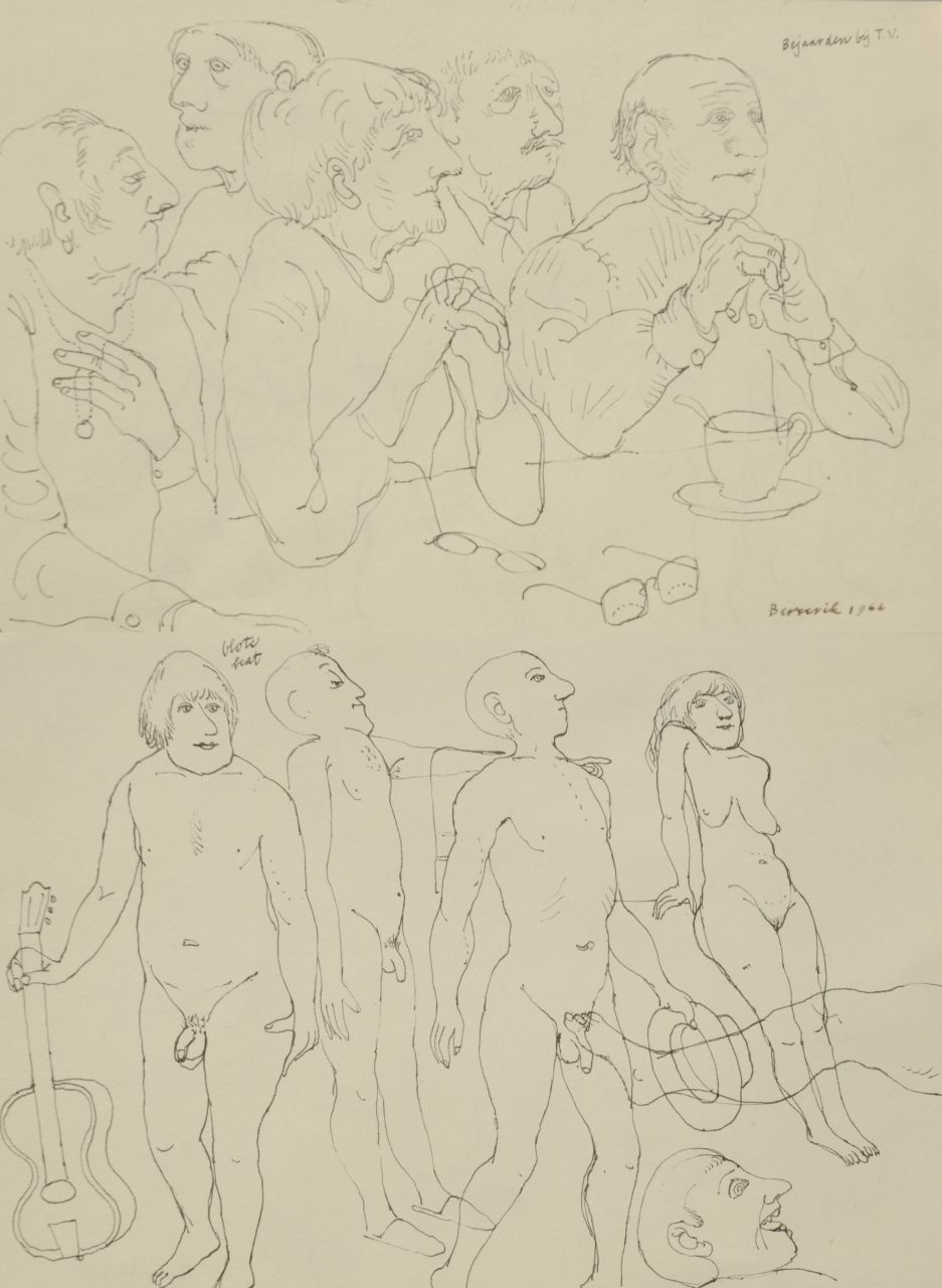 Berserik H.  | Hermanus 'Herman' Berserik | Watercolours and drawings offered for sale | Old people watching tv; on the reverse: naked beat, pen and ink on paper 15.8 x 23.7 cm, signed l.r. and dated 1966