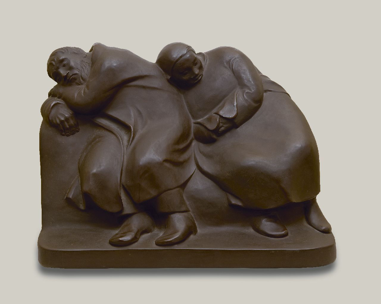 Ernst Barlach | Sleepings vagabonds (Sleeping farmer and his wife), Böttger-stoneware, 29.8 x 41.0 cm, signed with signature stamp on the side and executed 1956
