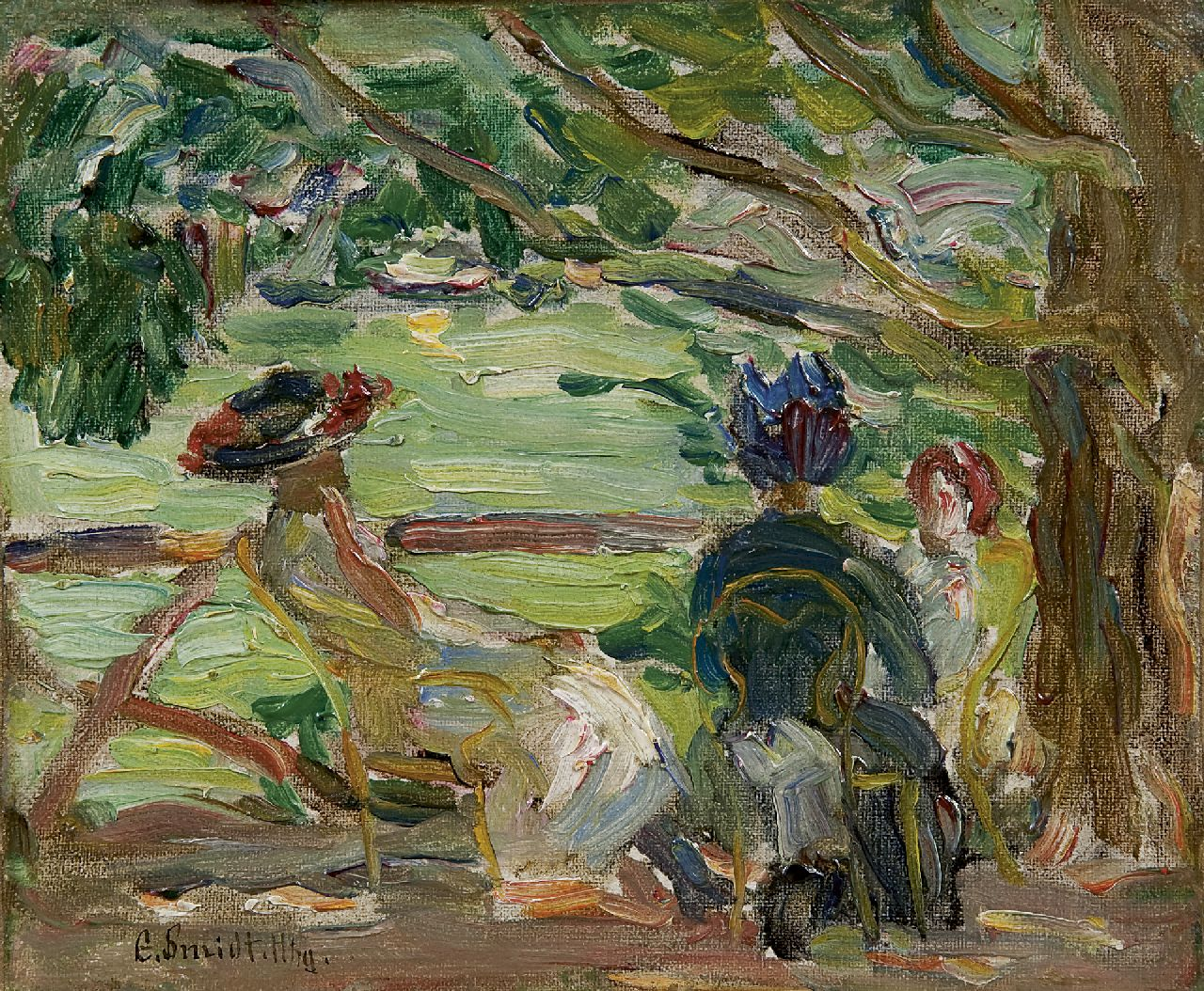 Emil Leonhard Smidt | A summer day in the garden, oil on canvas laid down on board, 15.0 x 18.3 cm, signed l.l.