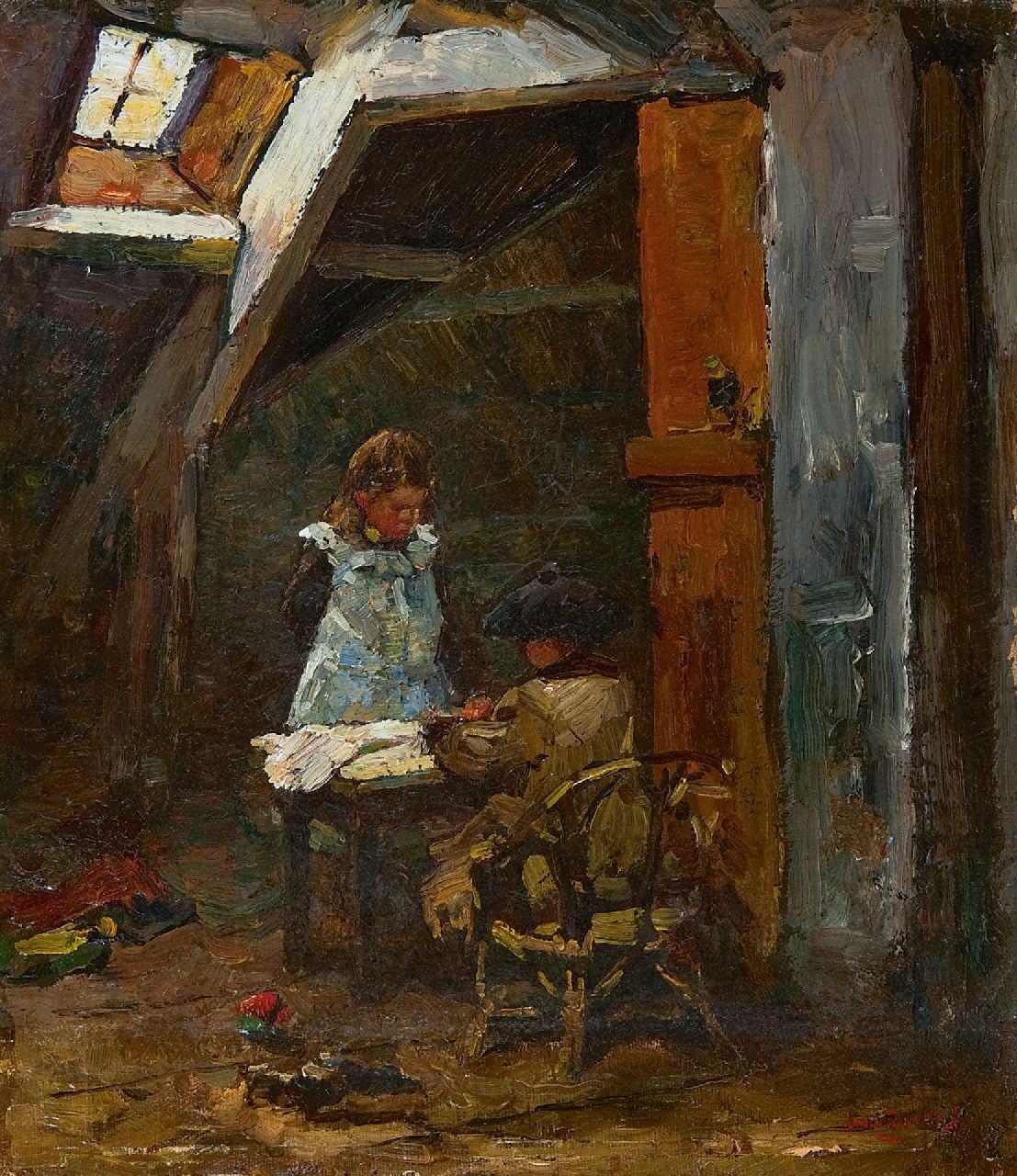 Zwart W.H.P.J. de | Wilhelmus Hendrikus Petrus Johannes 'Willem' de Zwart | Paintings offered for sale | The painter's children looking at picture books, oil on canvas laid down on board 33.4 x 29.5 cm, signed l.r.
