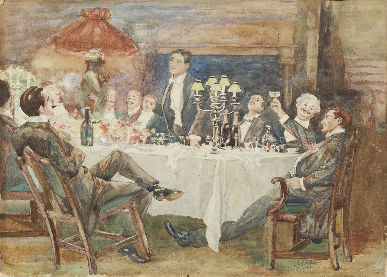 Beattie | The bachelor dinner, watercolour on paper, 25.3 x 35.5 cm, signed l.r. and dated 1900