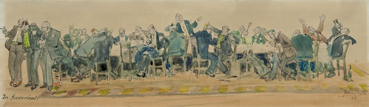 Bloos R.W.  | 'Richard' Willi Bloos, The gentlemen's evening, watercolour on paper 14.1 x 48.9 cm, signed l.r. and dated '44
