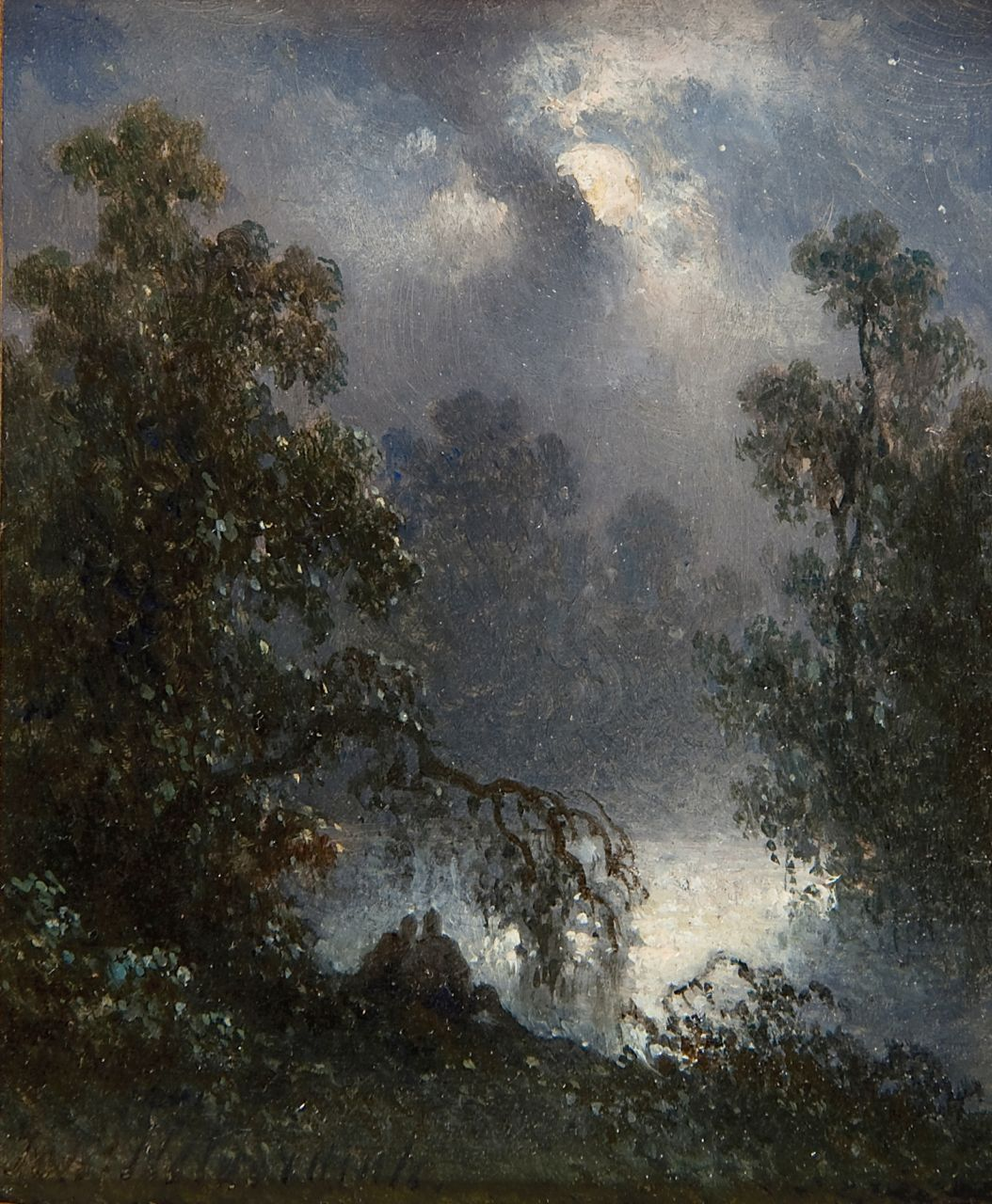 Hilverdink J.  | Johannes Hilverdink, A pond with two figures by moonlight, oil on panel 10.8 x 9.1 cm, signed l.l.