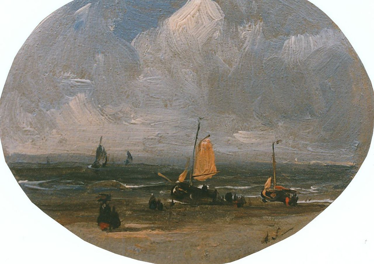 Schelfhout A.  | Andreas Schelfhout, A view on the beach, oil on panel, oval 6.0 x 7.5 cm, signed l.r. with monogram
