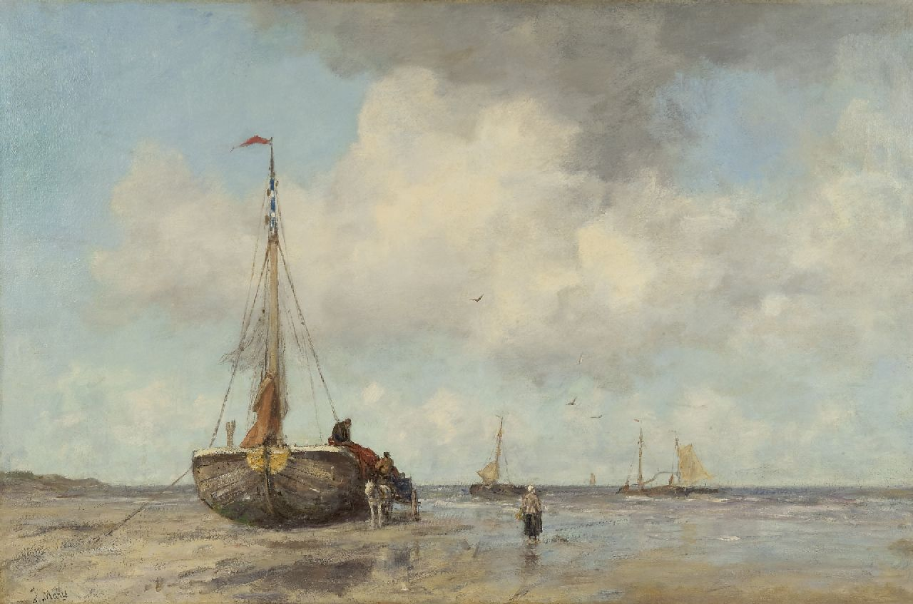 Maris J.H.  | Jacobus Hendricus 'Jacob' Maris, A summer's day at the beach of Scheveningen, oil on canvas 82.5 x 125.0 cm, signed l.l. and painted ca. 1890-1895