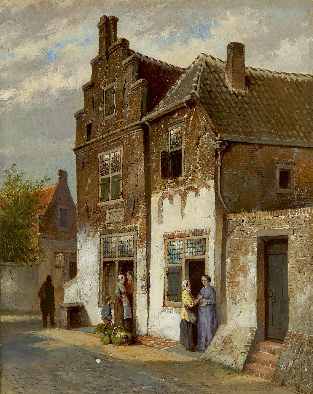 Pieter Oosterhuis | Figures in a street, oil on panel, 25.0 x 19.8 cm, signed l.r. and dated 1877