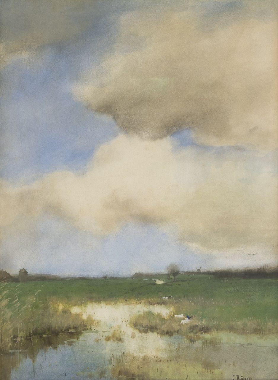 Kuijpers C.  | Cornelis Kuijpers | Watercolours and drawings offered for sale | Polder landscape, watercolour on paper 52.4 x 38.6 cm, signed l.r.