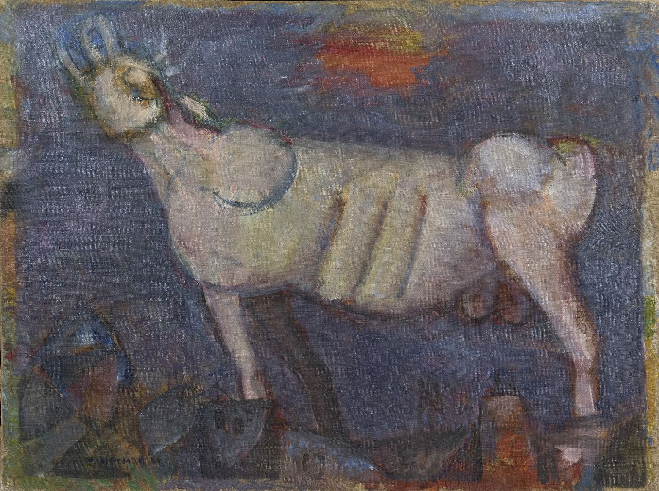 Rudi Bierman | Roaring bull, oil on canvas, 60.5 x 80.5 cm, signed l.l. and on the reverse and dated '52