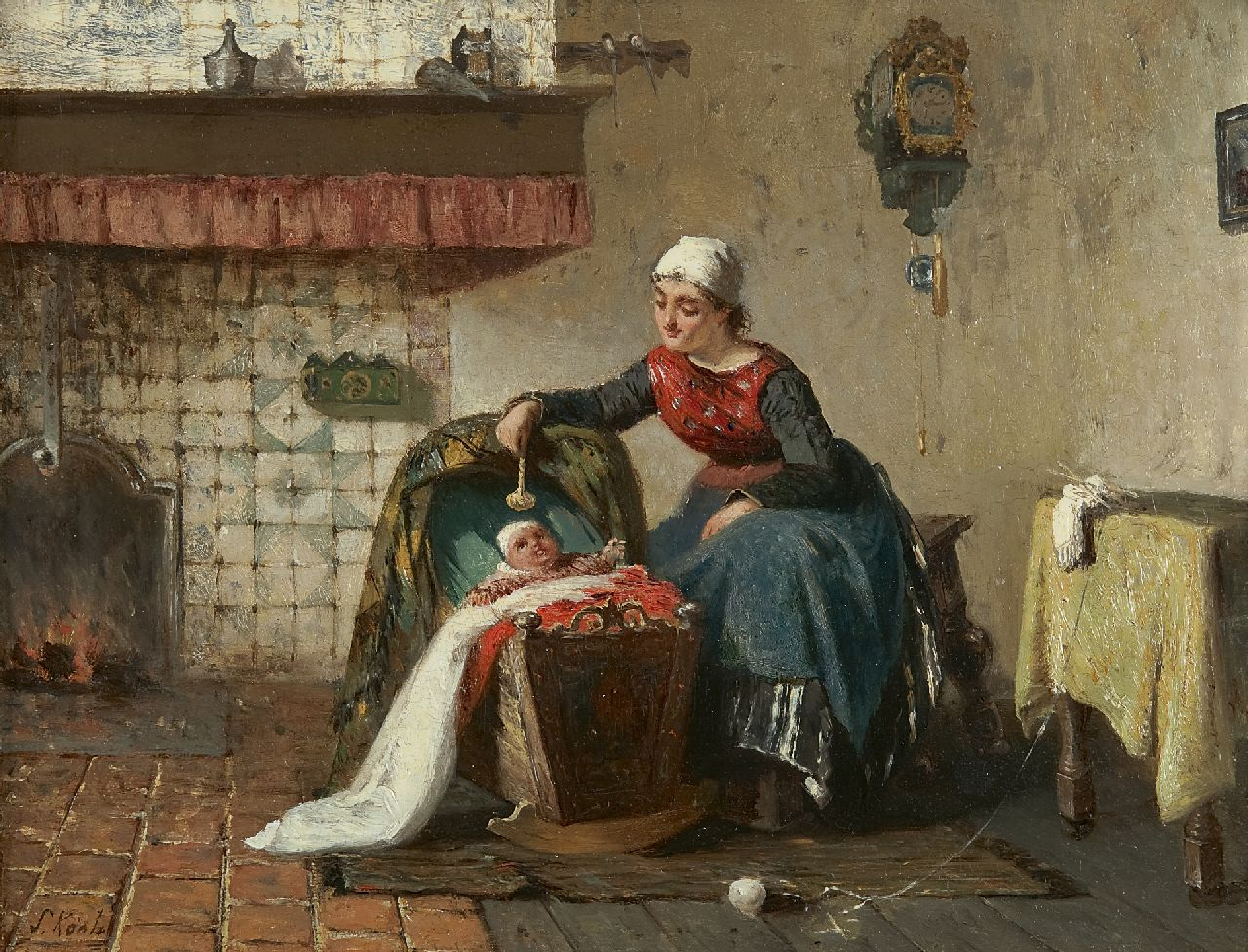 Sipke 'Cornelis' Kool | Mother and child near a fireplace, oil on panel, 26.6 x 35.0 cm, signed l.l. and dated 1881