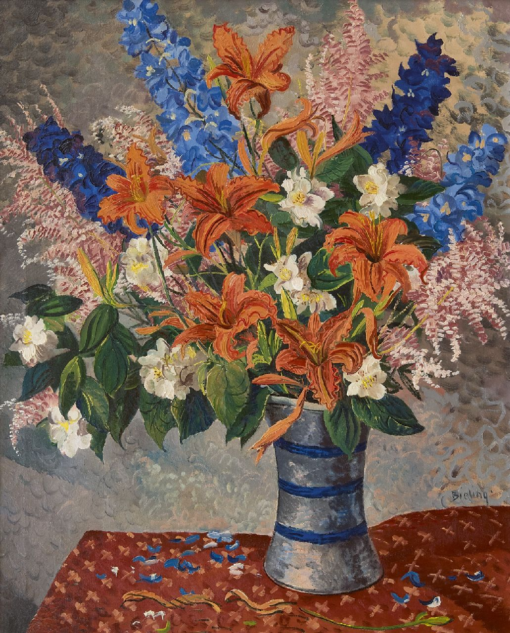 Bieling H.F.  | Hermann Friederich 'Herman' Bieling | Paintings offered for sale | Flower still life, oil on canvas 69.2 x 57.4 cm, signed c.r.