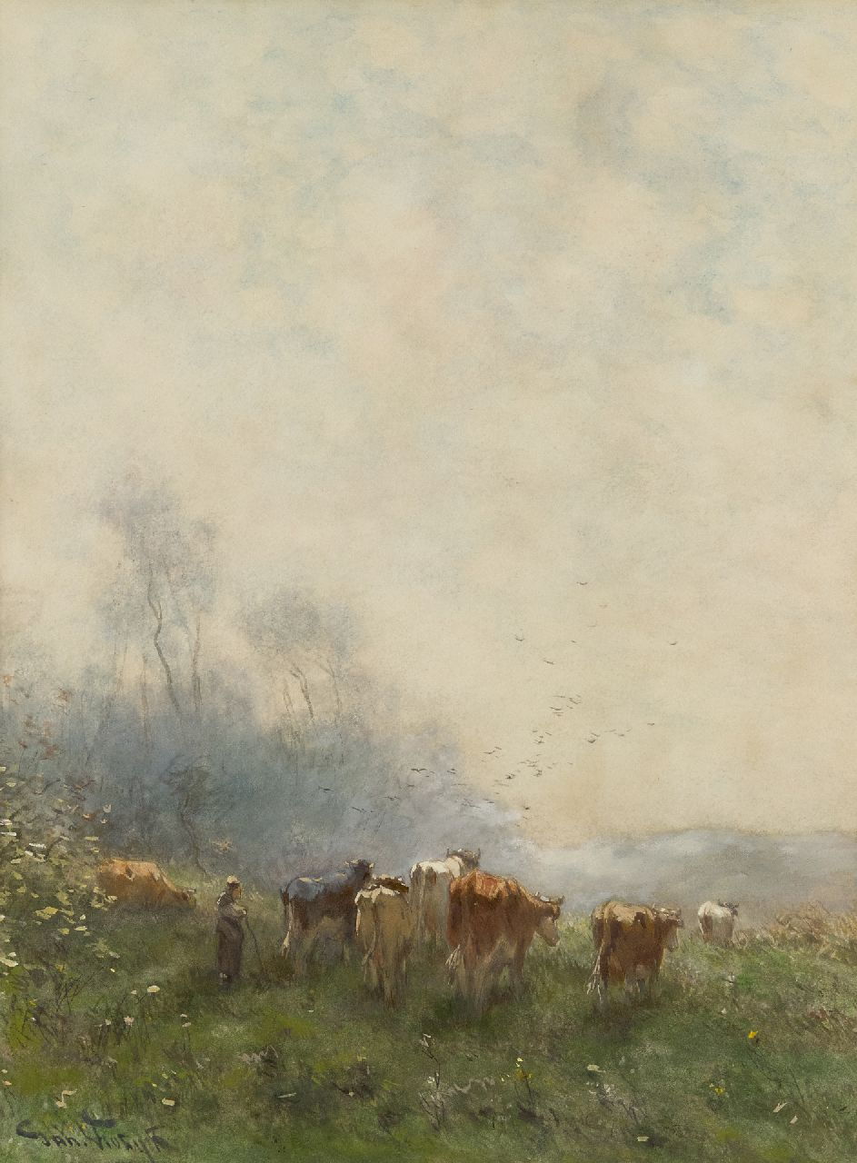 Jan Vrolijk | Shepherdess with her flock in the early morning haze, watercolour on paper, 53.5 x 39.4 cm, signed l.l.