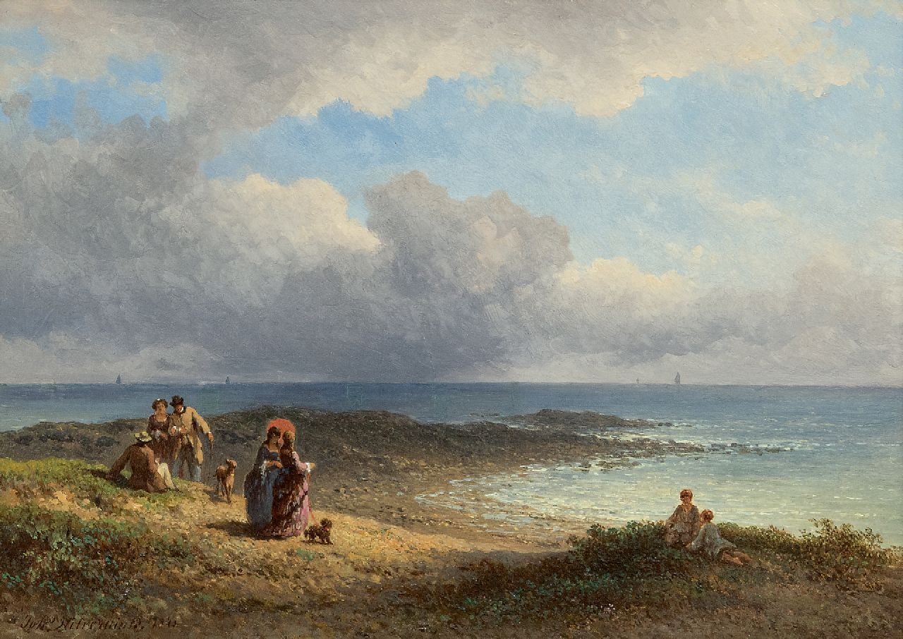 Hilverdink J.  | Johannes Hilverdink | Paintings offered for sale | Elegant figures at the French coast, oil on panel 23.6 x 34.2 cm, signed l.l. and dated 1873