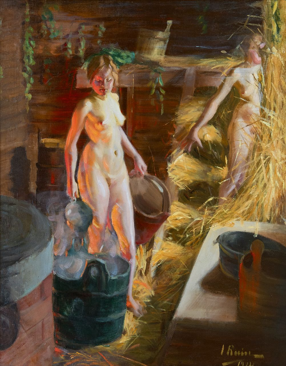 Ingrid Linnea Ruin | Two girls in a sauna, oil on canvas, 92.3 x 76.3 cm, signed l.r. and dated 1914