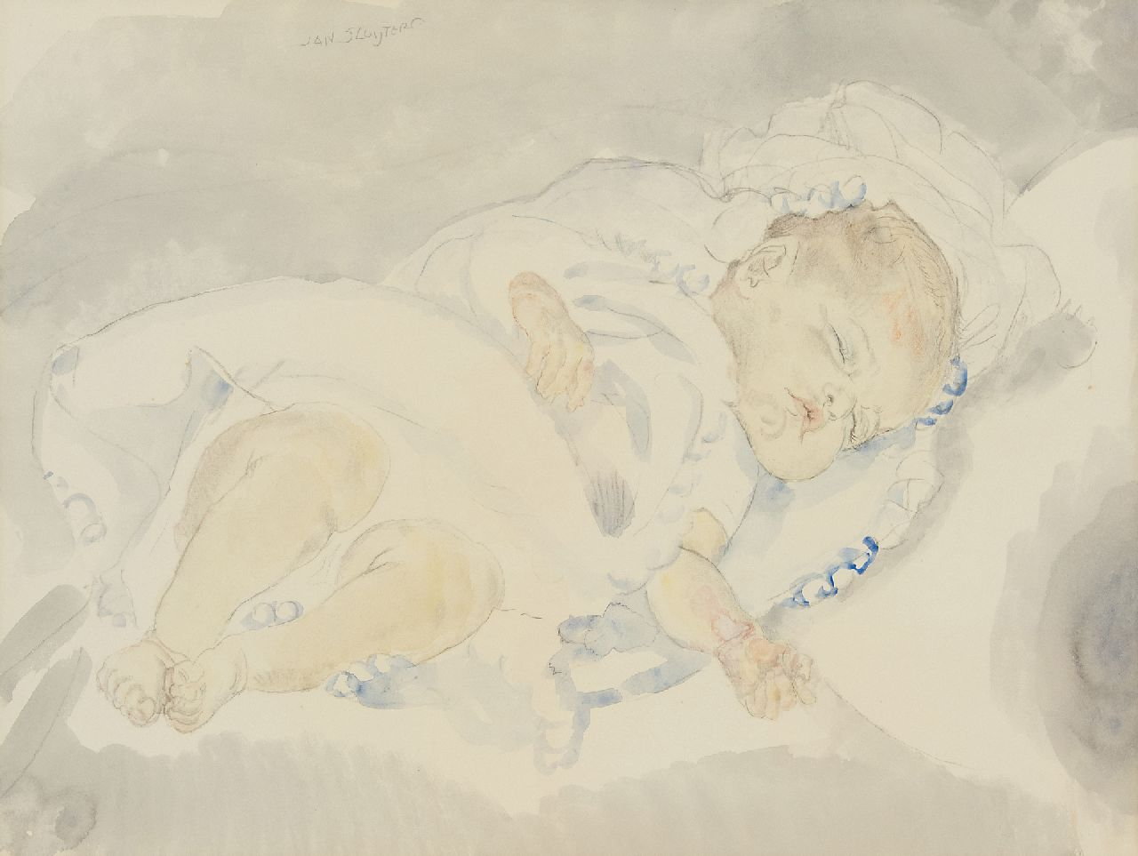 Sluijters J.C.B.  | Johannes Carolus Bernardus 'Jan' Sluijters | Watercolours and drawings offered for sale | Sleeping baby, pencil and watercolour on paper 46.5 x 58.5 cm, signed u.l.