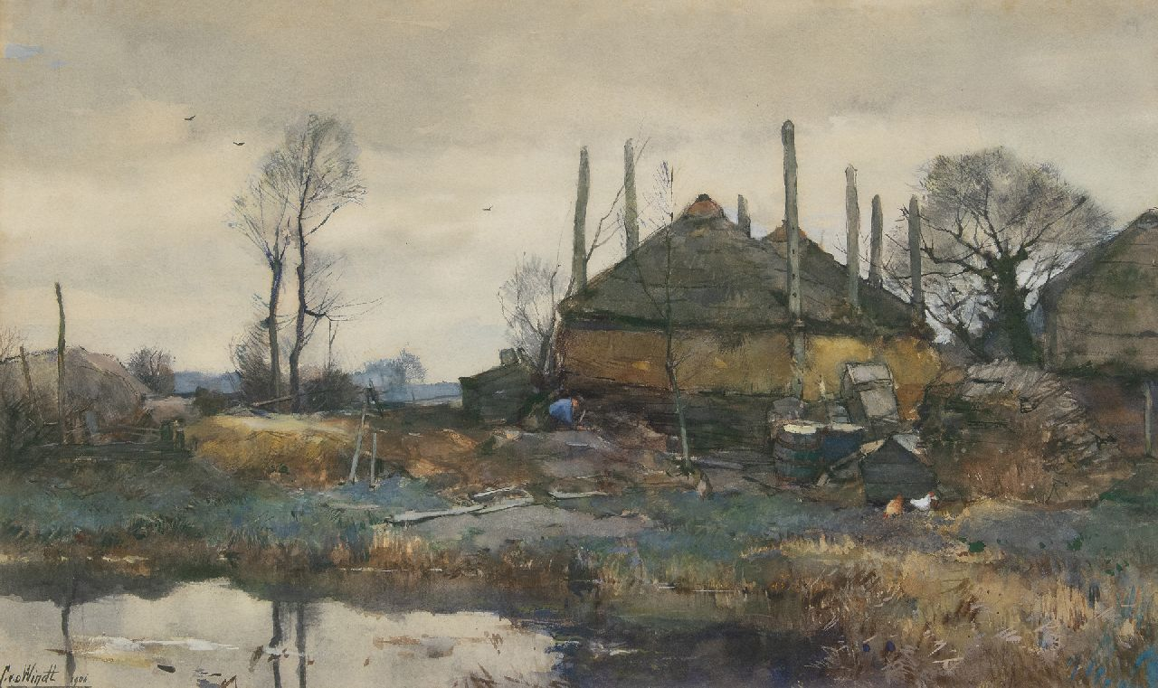 Windt Ch. van der | Christophe 'Chris' van der Windt | Watercolours and drawings offered for sale | A farm on the waterfront, watercolour and gouache on paper 42.3 x 70.2 cm, signed l.l. and painted 1906