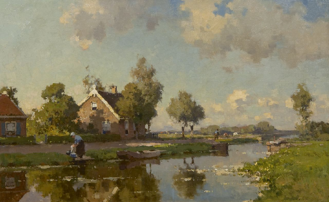 Vreedenburgh C.  | Cornelis Vreedenburgh | Paintings offered for sale | Along the polder canal, oil on canvas 47.5 x 76.0 cm, signed l.r.