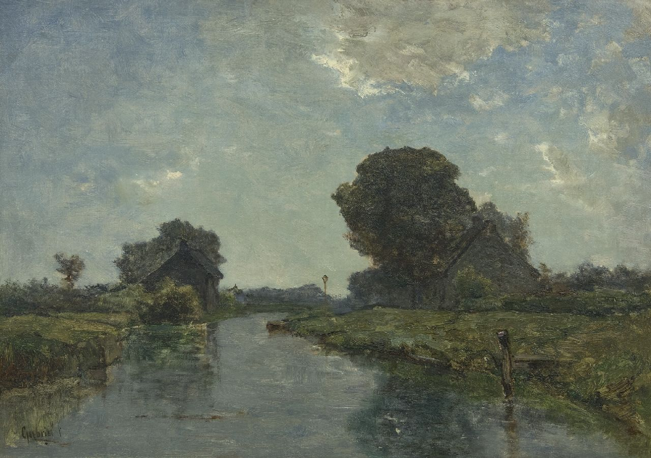 Gabriel P.J.C.  | Paul Joseph Constantin 'Constan(t)' Gabriel | Paintings offered for sale | A canal near Kortenhoef, oil on canvas 38.8 x 54.8 cm, signed l.l.