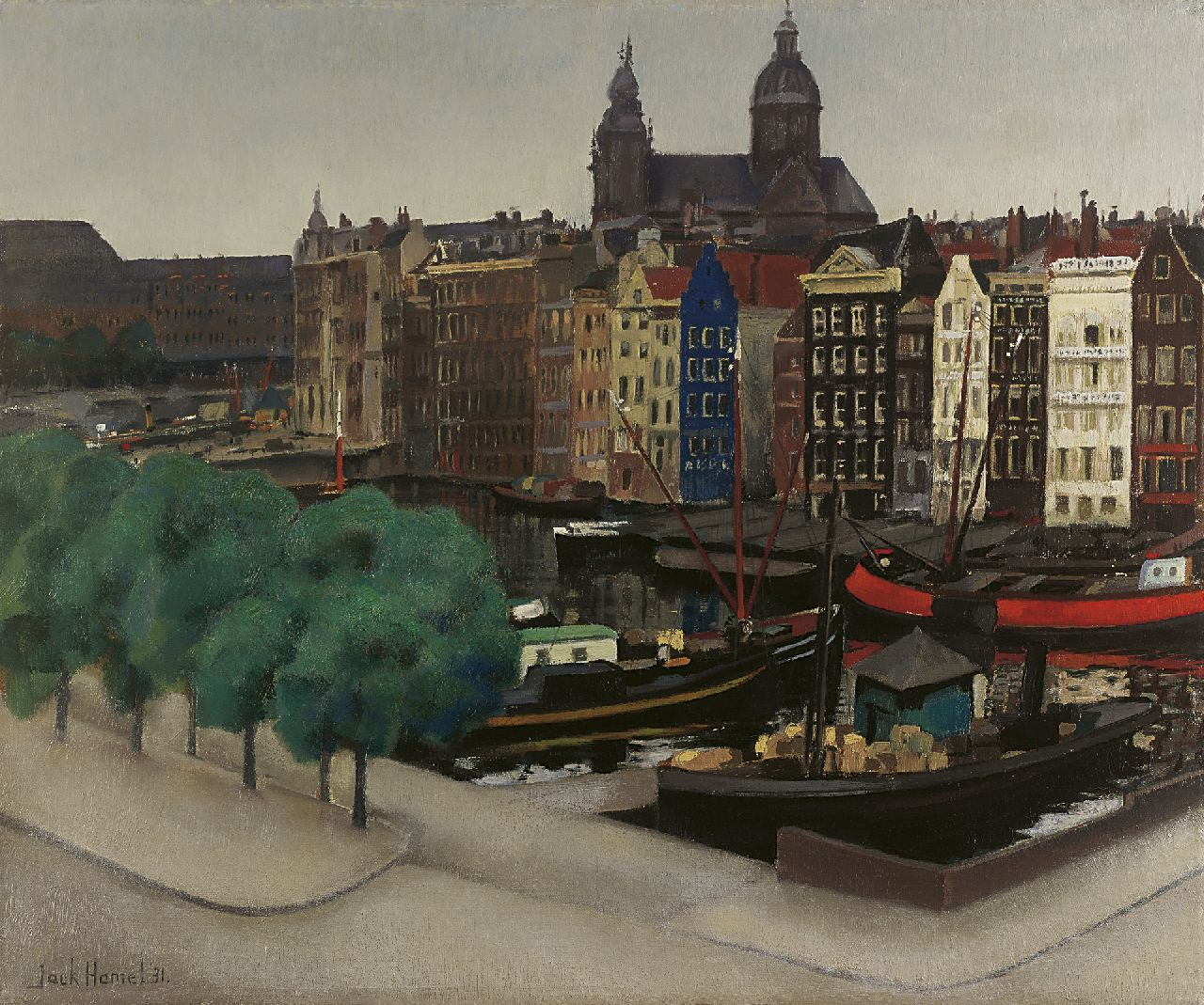 Hamel J.G.  | Jacobus Gerardus 'Jack' Hamel | Paintings offered for sale | A view of the Damrak with the St.-Nicolaaskerk, oil on canvas 50.3 x 60.0 cm, signed l.l. and dated '31