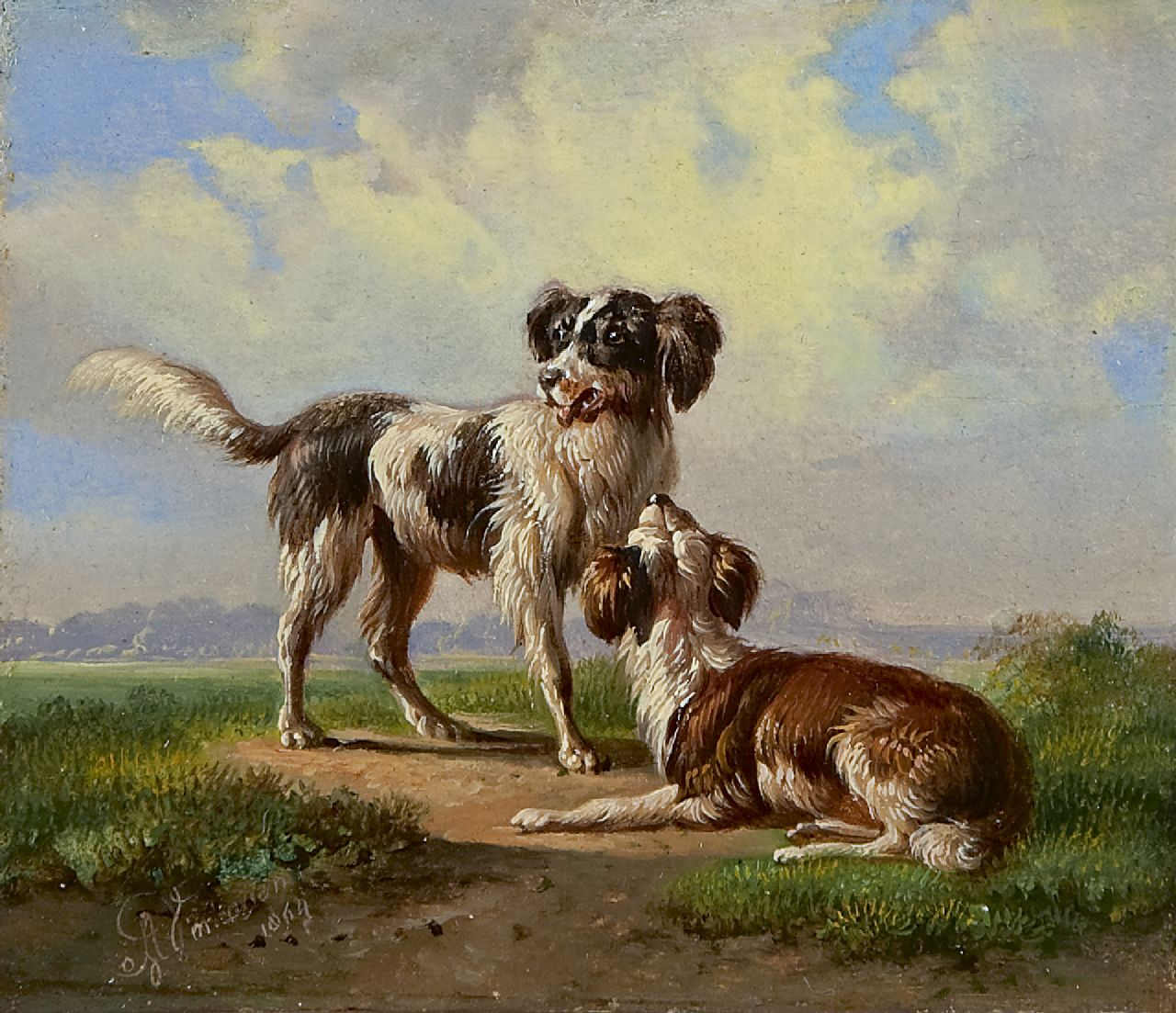 Verhoesen A.  | Albertus Verhoesen, Two hounds in a landscape, oil on panel 10.8 x 12.4 cm, signed l.l. and dated 1864