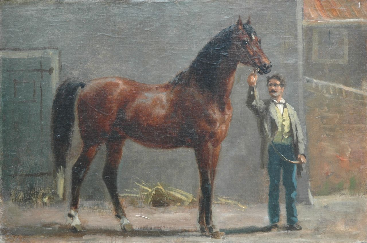Eerelman O.  | Otto Eerelman, A thoroughbred with his groom in the stable, oil on canvas laid down on panel 35.0 x 52.0 cm