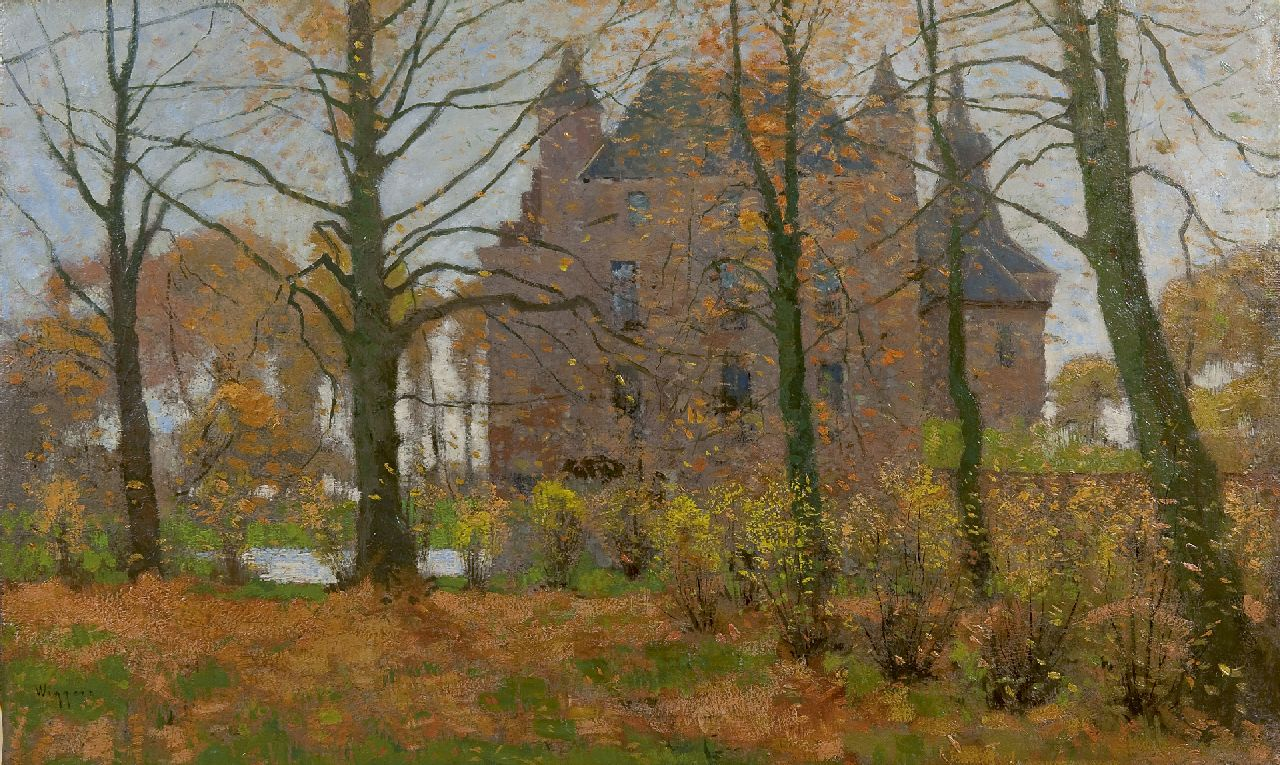 Wiggers D.  | Dirk 'Derk' Wiggers, Castle Doorwerth in autumn, oil on canvas 40.5 x 65.6 cm, signed l.l.