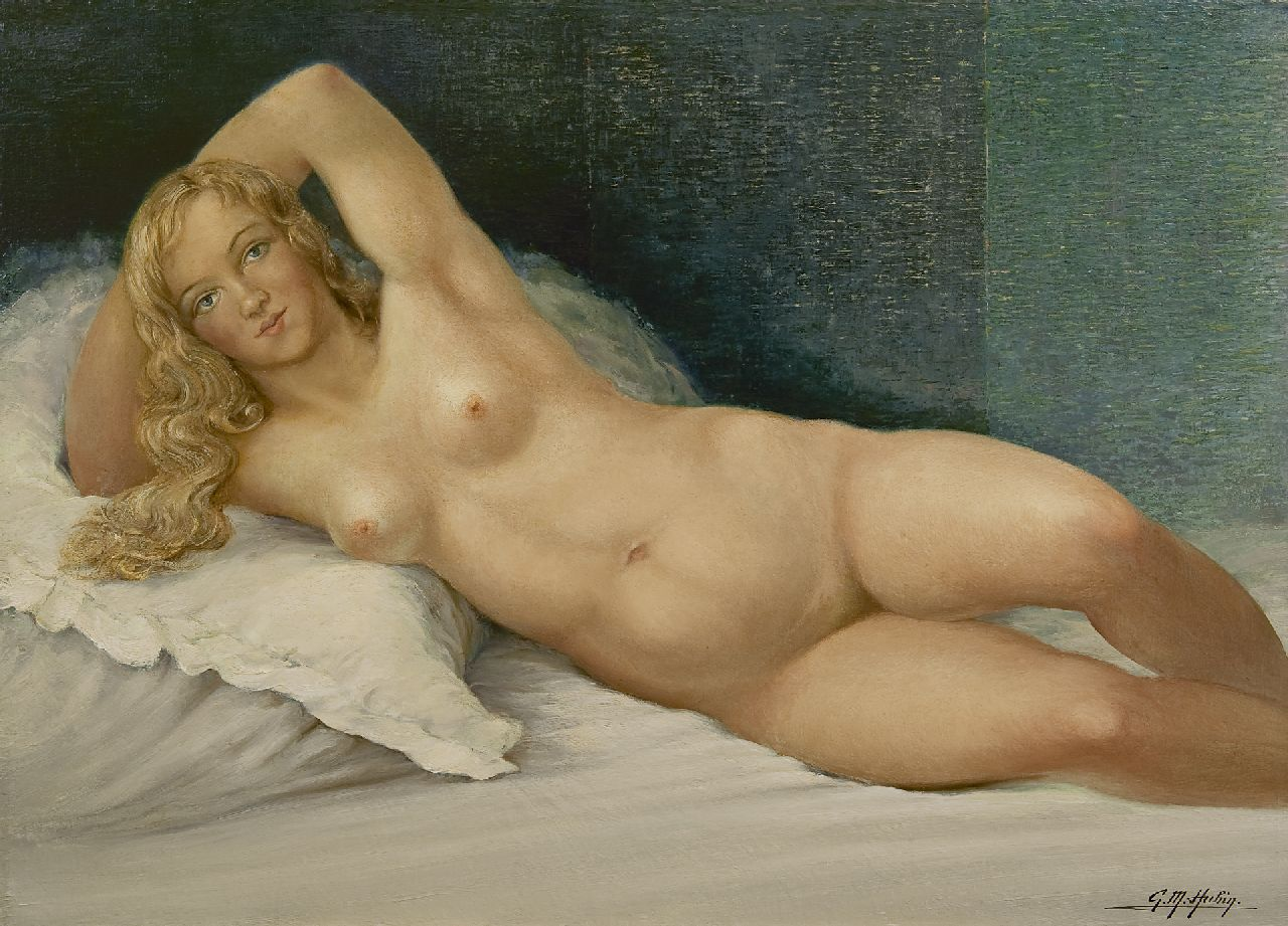 Gilbert Maurice Hubin | Reclining nude, oil on canvas, 74.0 x 102.2 cm, signed l.r.