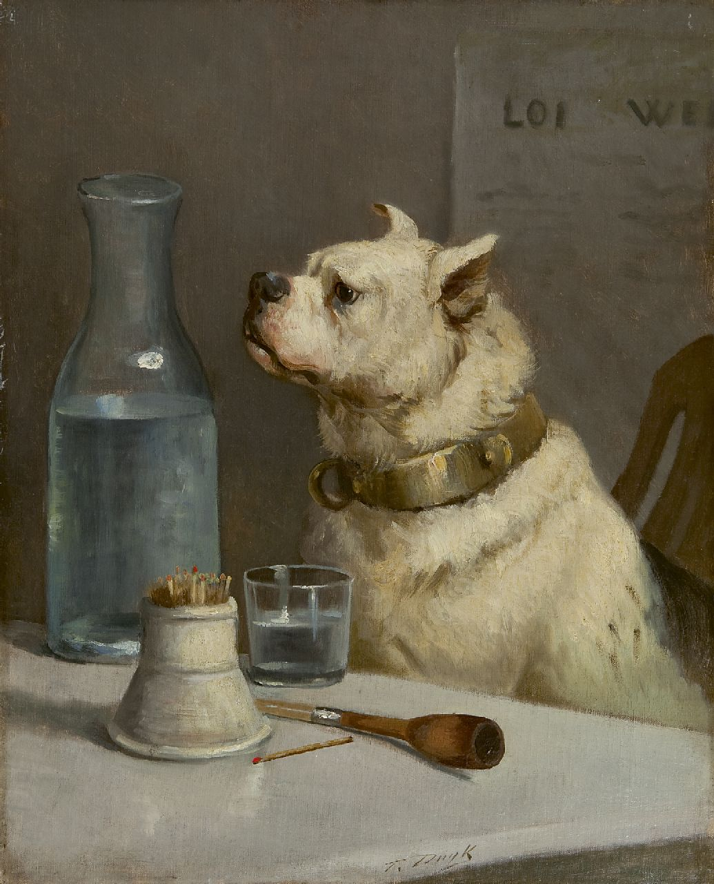 François Duyk | The thirsty dog, oil on canvas, 50.1 x 40.1 cm, signed l.m.