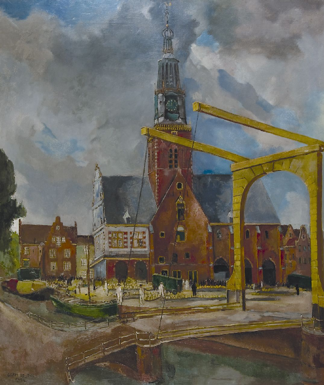 Jong G. de | Gerben 'Germ' de Jong | Paintings offered for sale | The Cheese market, Alkmaar, oil on canvas 117.0 x 99.3 cm, signed l.l. and dated 1944