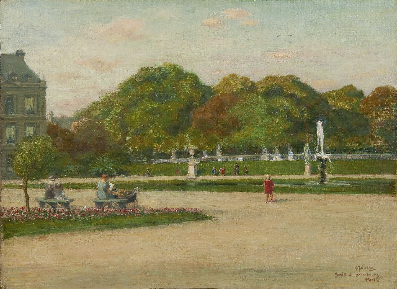 Staller G.J.  | Gerard Johan Staller | Paintings offered for sale | Jardin du Luxembourg, Paris, oil on canvas laid down on panel 35.8 x 48.2 cm, signed l.r.