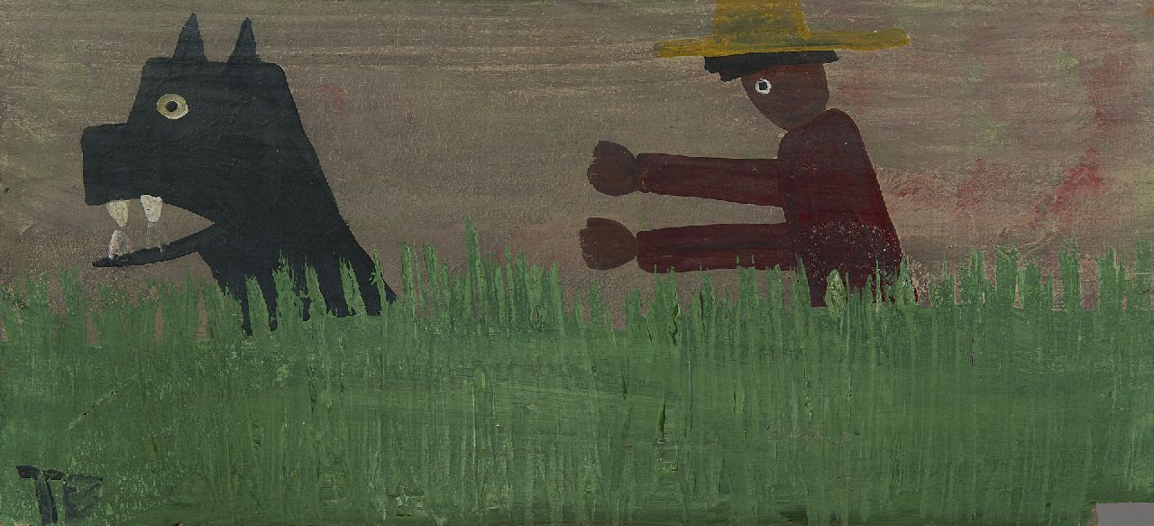 Brown T.  | Timothy 'Tim' Brown | Paintings offered for sale | Man and dog, oil on panel 28.4 x 61.1 cm, signed l.l. and painted 1960-1970