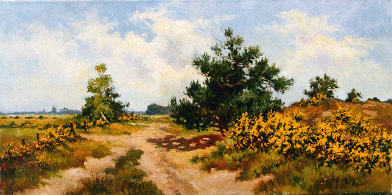 Henk Poeder | A heath landscape, oil on canvas, 40.0 x 80.0 cm, signed l.r.