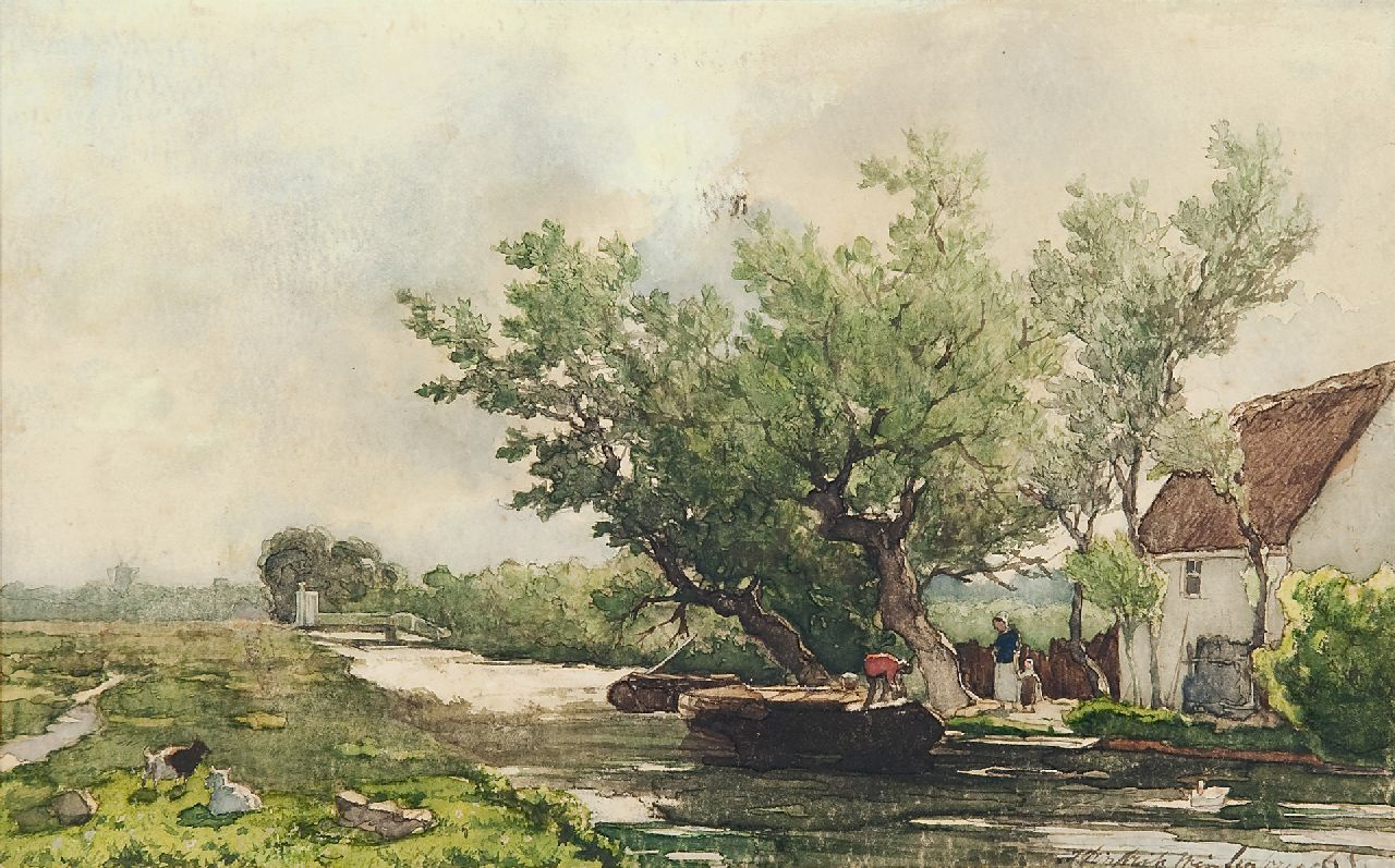 Weissenbruch H.J.  | Hendrik Johannes 'J.H.' Weissenbruch | Watercolours and drawings offered for sale | Canal along the Benoordenhoutseweg near The Hague, watercolour on paper 17.6 x 28.1 cm, signed l.r.