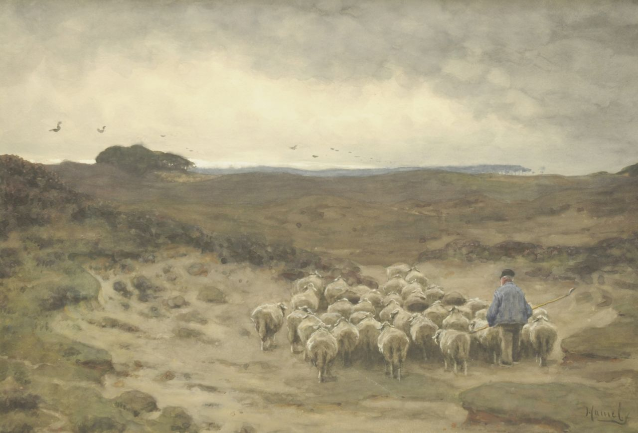 Willem Hamel | Shepherd and his flock, watercolour on paper, 54.1 x 76.5 cm, signed l.r.