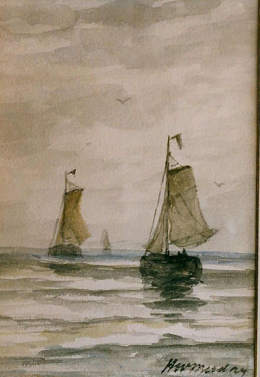 Mesdag H.W.  | Hendrik Willem Mesdag, 'Bomschuiten' in calm, watercolour on paper 20.5 x 15.0 cm, signed l.r.