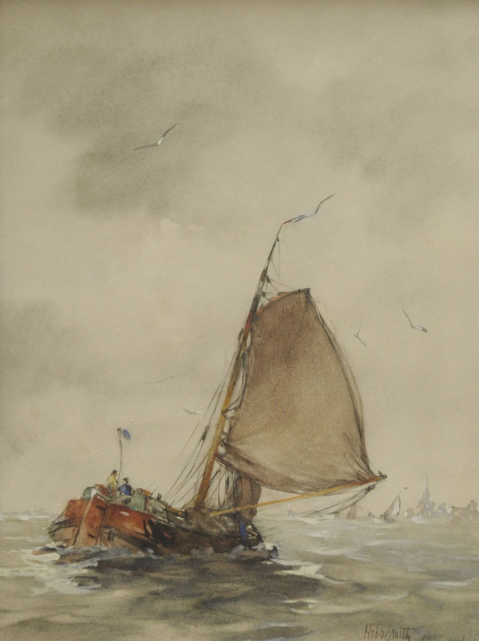 Smith H.  | Hobbe Smith, A barge in choppy waters on the Zuiderzee, watercolour and gouache on paper 30.1 x 22.9 cm, signed l.r. and dated 1916