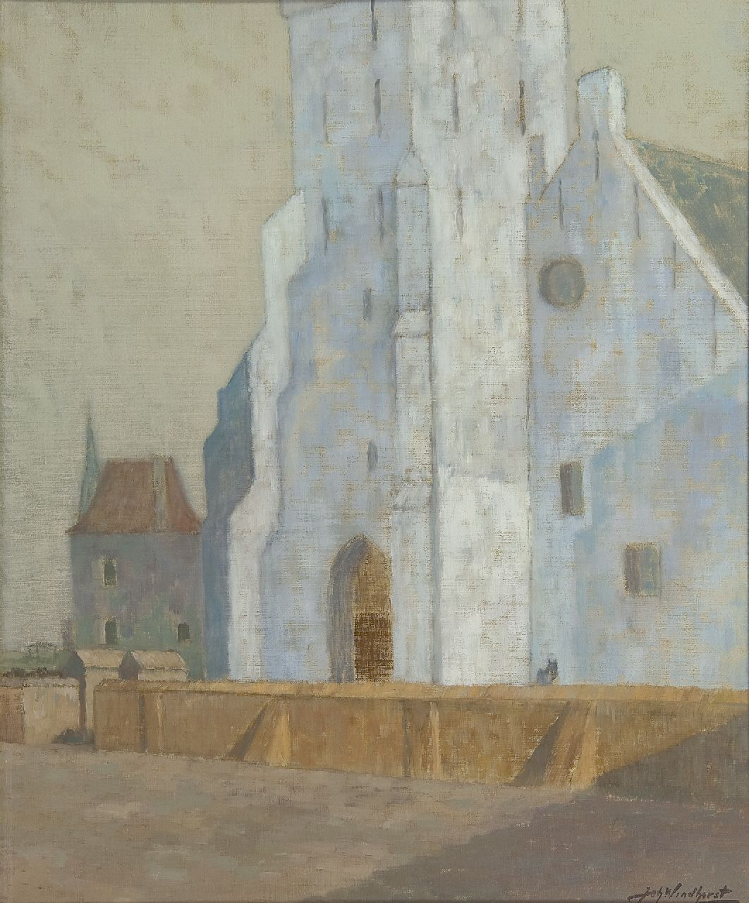 Windhorst J.C.  | The Andreaskerk, Katwijk aan Zee, oil on canvas, 50.6 x 41.5 cm, signed l.r. and dated September 1928 on the stretcher
