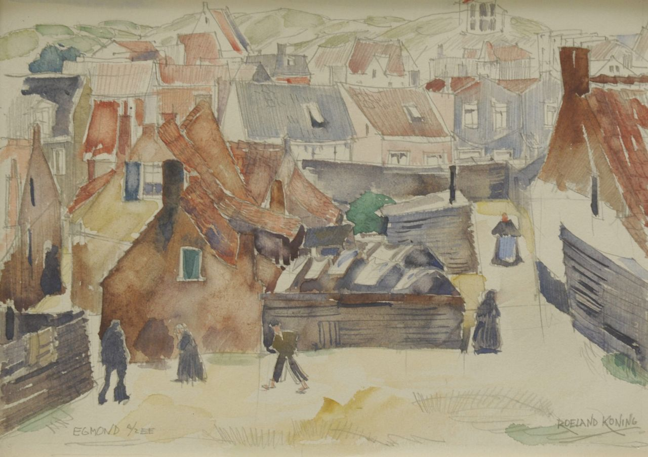 Koning R.  | Roeland Koning, A view of Egmond aan Zee, pencil and watercolour on paper 20.0 x 28.0 cm, signed l.r. and painted ca. 1924-1934
