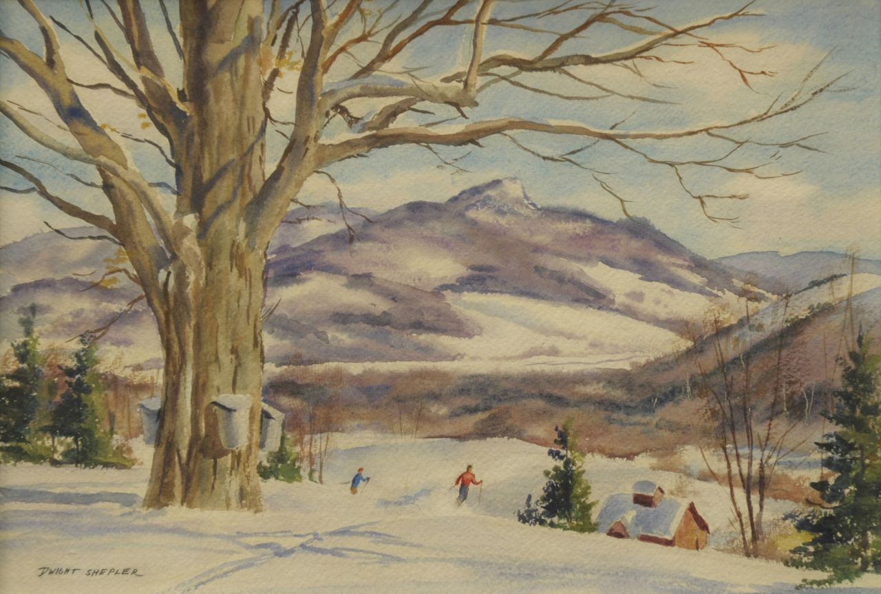 Dwight Clark Shepler | March skiing, Vermont, watercolour on paper, 27.5 x 39.0 cm, signed l.l.
