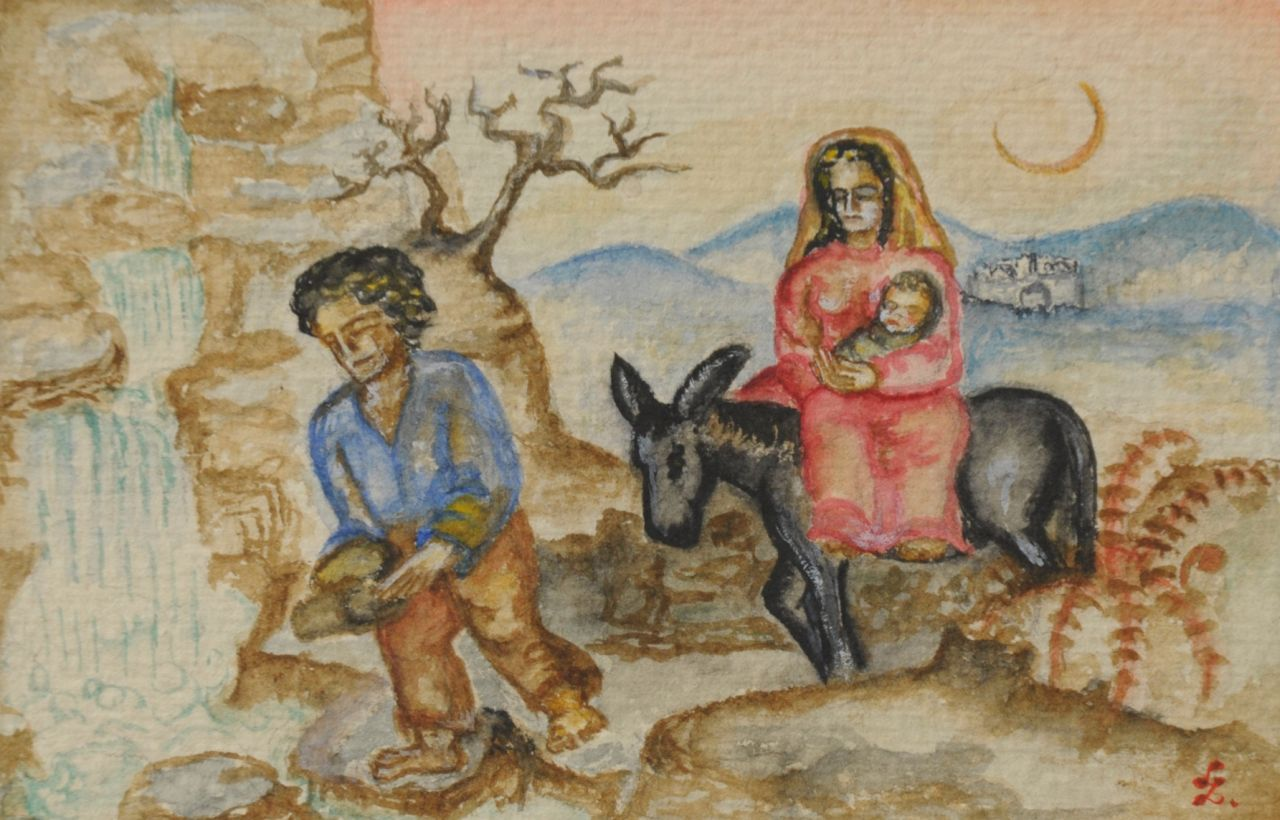 Zondag N.G.  | Nelly Geesje 'Loekie' Zondag, The flight to Egypt, watercolour on paper 9.2 x 14.1 cm, signed l.r. with monogram