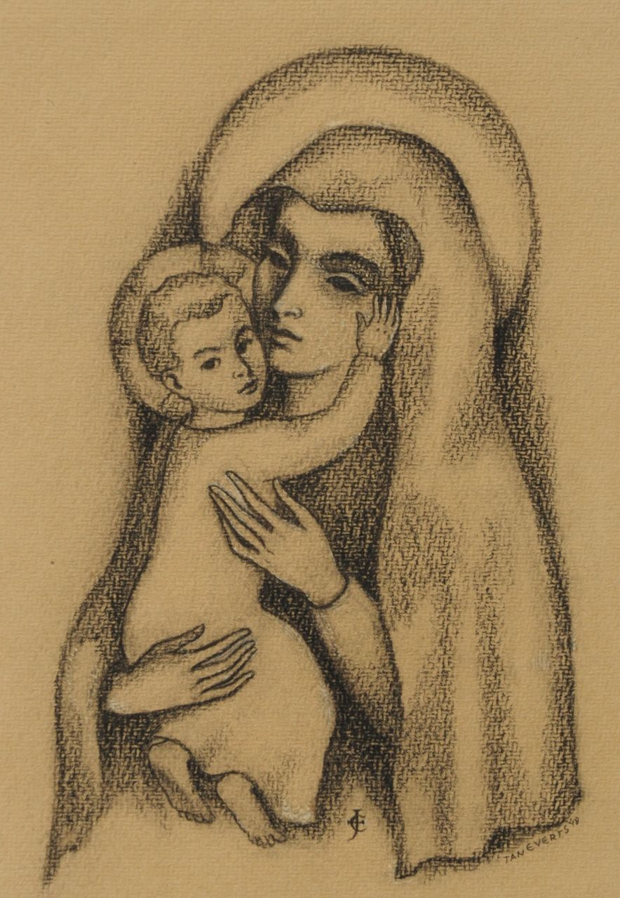 Johannes Hendricus Antonius 'Jan' Everts | Madonna and child, black chalk on paper, 28.2 x 20.7 cm, signed l.m. with monogram and l.r. in full and dated '48