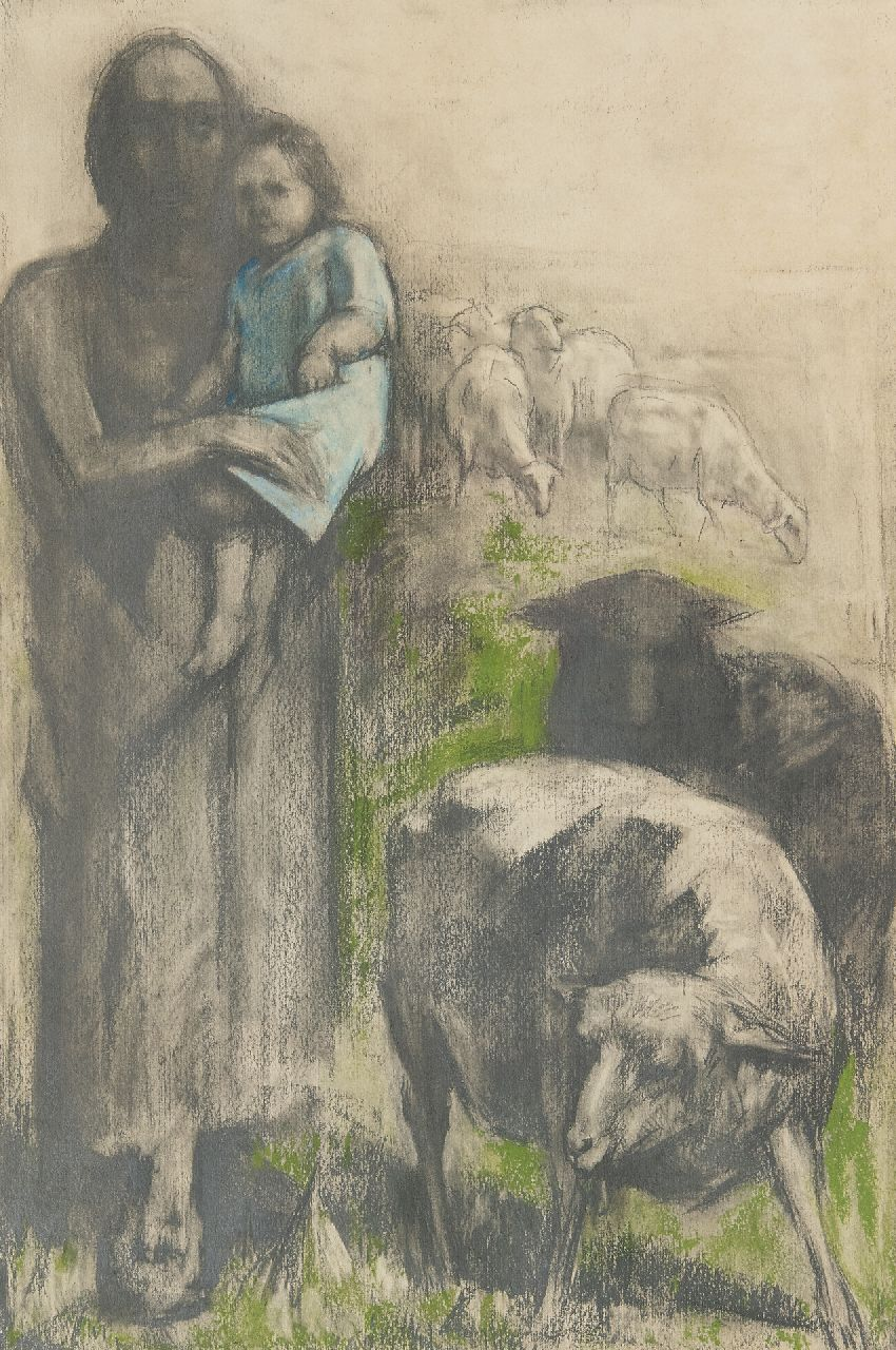 Bautz D.  | David Bautz | Watercolours and drawings offered for sale | A shepherd with a child, pastel on paper 47.6 x 32.2 cm, signed l.r.